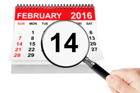 st mark: Valentines Day Concept. 14 february calendar with magnifier on a white background