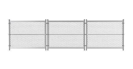 Metall Wired Zaun auf einem weißen Hintergrund