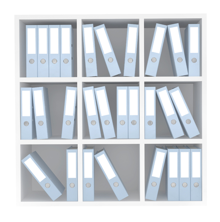 documentation: Office File Folders standing on the Shelves on a white background
