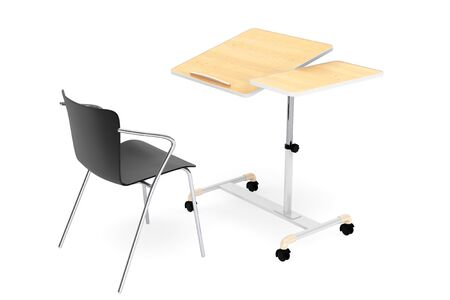 comfort classroom: Wooden School, Home and Office Laptop Desk with Chair on a white background