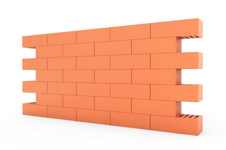 red brick wall: Red Brick Wall on a white background