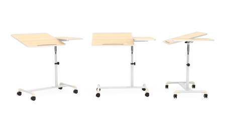 comfort classroom: Wooden School, Home and Office Laptop Desks on a white background Stock Photo