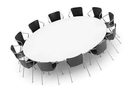 Conferenza Tavola Rotonda e Office sedie su uno sfondo bianco