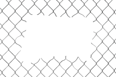 chained link fence: Hole in the Wire Mesh Fence on a white background Stock Photo