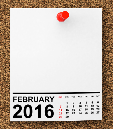 calendar: Calendar February 2016 on blank note paper with free space for your text Stock Photo