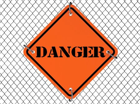 interjection: Danger Sign with Wired Fence on a white background Stock Photo