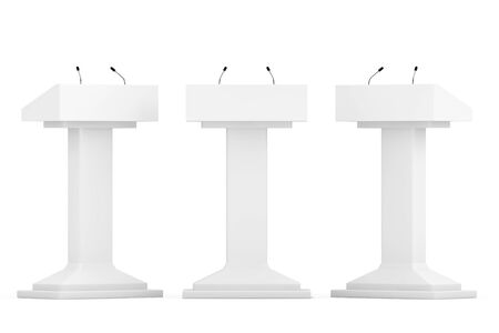 White Podium Tribune Rostrum Stands with Microphones on a white background Archivio Fotografico