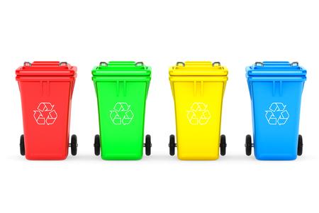 basura: Multicolores contenedores de basura de basura sobre un fondo blanco Foto de archivo