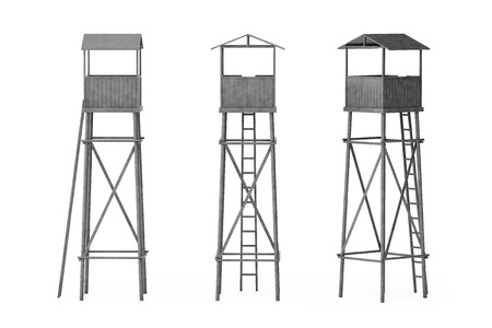 border patrol: Old Wooden Watch Guard Towers on a white background Stock Photo