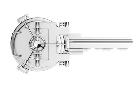 cuenta bancaria: Como clave de bóveda puerta del banco sobre un fondo blanco Foto de archivo
