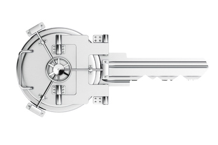 Key As Vault Bank Door on a white background Stok Fotoğraf - 50519472