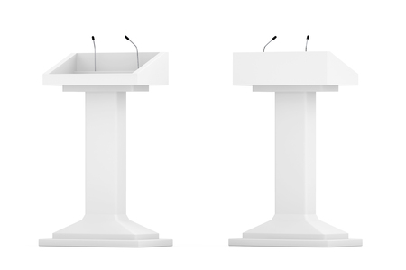 rostrum: White Podium Tribune Rostrum Stands with Microphones on a white background Stock Photo