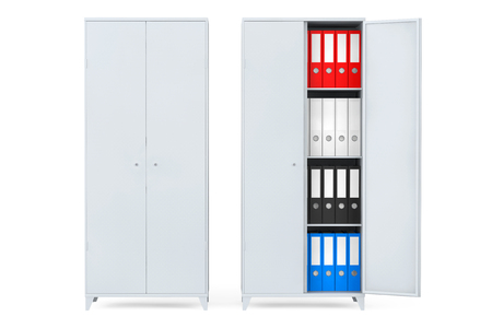 Filing Cabinets with Office Folders on a white background