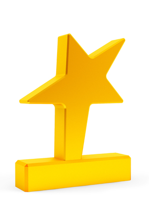 star award: Golden Star Award Trophy on a white background