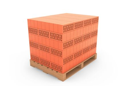 euro pallet: Construction Concept. Ceramic Bricks over Euro pallet on a white background Stock Photo