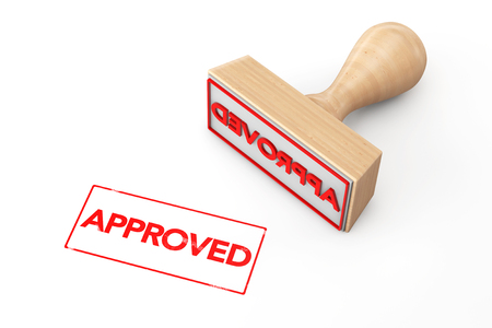 approved sign: Wooden Rubber Stamp with Approved Sign on a white background