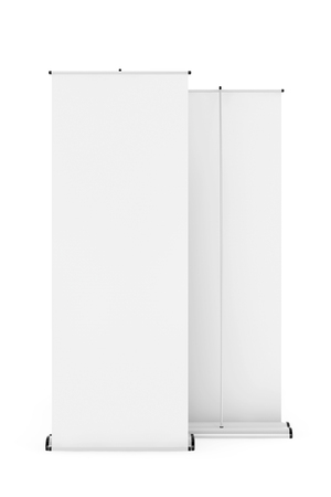 rollup: Rolled Banner Promotion Stands on a white background