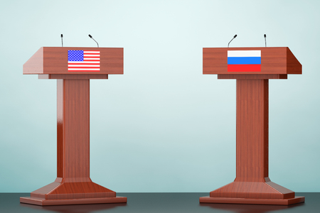 rostrum: Wooden Podium Tribune Rostrum Stands with USA and Russian flags on the floor