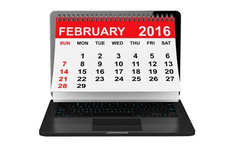 february calendar: 2016 year calendar. February calendar over laptop screen on a white background