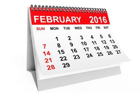 2016 año calendario. Calendario de febrero sobre un fondo blanco
