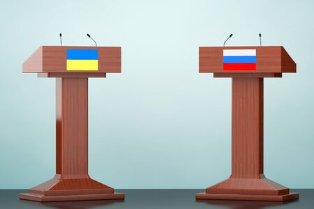 rostrum: Wooden Podium Tribune Rostrum Stands with Ukraine and Russian flags on the floor