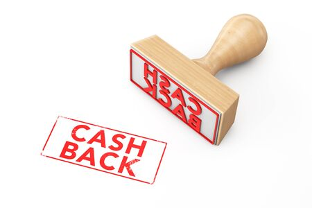 optimum: Wooden Rubber Stamp with Cash Back Sign on a white background