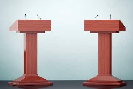 Old Style Photo. Wooden Podium Tribune Rostrum Stands with Microphones on the floor
