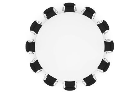 Conference Round Table and Office Chairs on a white background