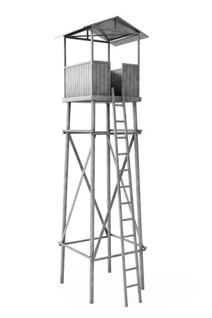 Old Wooden Watch Guard Tower on a white background Stock Photo