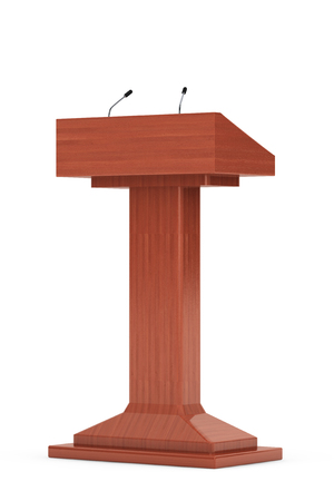 Wooden Podium Tribune Rostrum Stand with Microphones on a white background