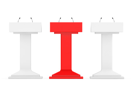 rostrum: White with Red One Podium Tribune Rostrum Stands with Microphones on a white background Stock Photo