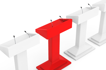 spokesman: White with Red One Podium Tribune Rostrum Stands with Microphones on a white background Stock Photo