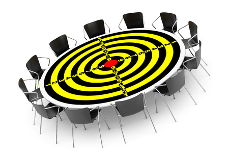 round chairs: Target Conference Round Table and Office Chairs on a white background Stock Photo
