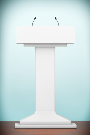 spokesman: Old Style Photo. White Podium Tribune Rostrum Stand with Microphones on the floor