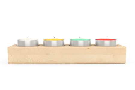 scented candle: Row of Tea Light candles in wooden stand on a white background