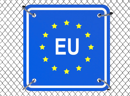 illegal zone: European Union Sign with Wired Fence on a white background Stock Photo