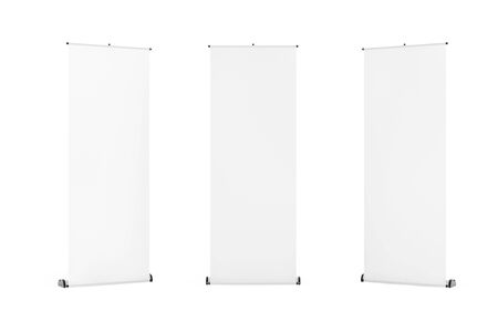 Rolled Banner Promotion Stands on a white background