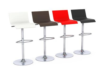 metal legs: Multicoloured Bar Vintage Stools on a white background