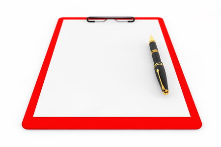 note pad: Red Plastic clipboard with Fountain Pen on a white background Stock Photo