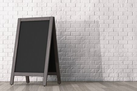 Blank Wooden Menu Blackboard Outdoor Display in front of brick wall
