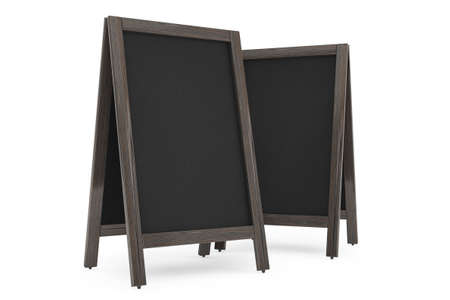 bordering: Blank Wooden Menu Blackboards Outdoor Display on a white background