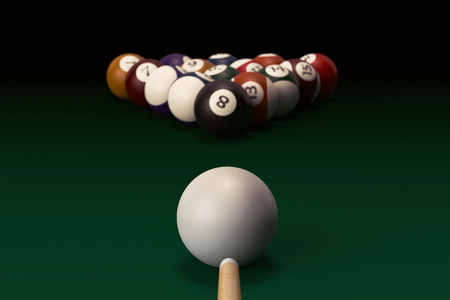 Billiard table with balls set and cue on a black background Stock Photo