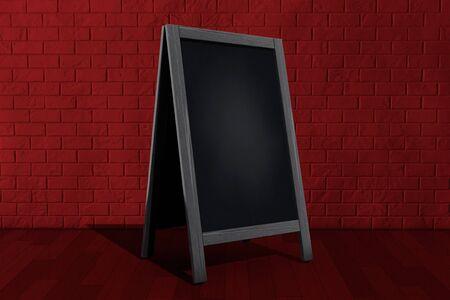 bordering: Blank Wooden Menu Blackboard Outdoor Display in front of brick wall