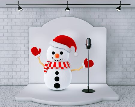 ice brick: Snowman with Vintage Microphone standing on an stage extreme closeup Stock Photo