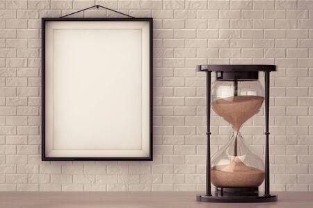 reloj de arena: reloj de arena arena de la vendimia delante de la pared de ladrillo con el marco en blanco primer plano extremo