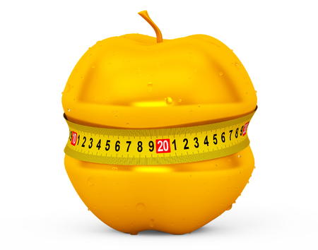 golden apple: Diet Concept. Wet Golden Apple with Yellow Measuring Tape on a white background