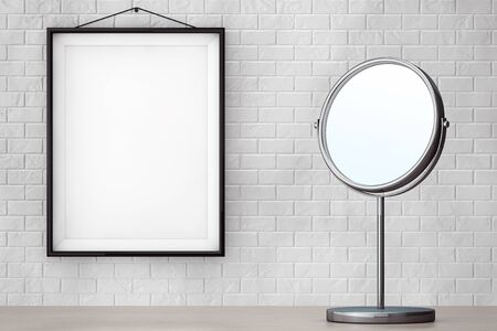 penumbra: Chrome Makeup Mirror in front of Brick Wall with Blank Frame extreme closeup