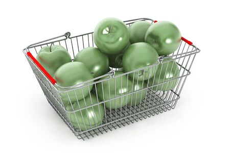 Supermarket Shopping Basket filled with Green Apples on a white background