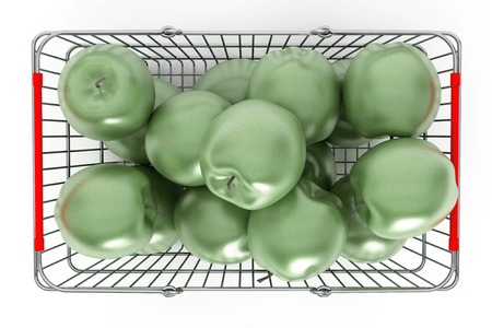 apples basket: Supermarket Shopping Basket filled with Green Apples on a white background