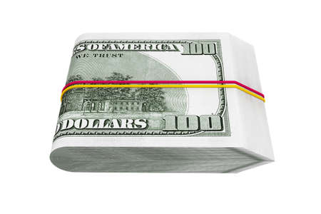dollar bill: Pack of Hundred Dollars on a white background